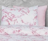 PINK WHITE MARBLE EFFECT STYLISH PRINTED BEDDING DUVET COVER & PILLOWCASE SET